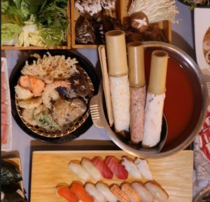 花ごころの「豚肉と牛肉のしゃぶしゃぶと天ぷら握り寿司食べ放題」